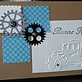 Un même sketch ... des engrenages ... une vieille voiture ... une touche de métal ... une carte pour la fête des pères !