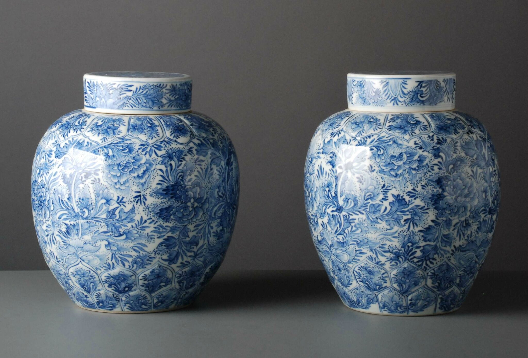 Pair of blue & white ginger jars, China, Kangxi Period (1662-1722). Photo courtesy Vanderven Oriental Art.