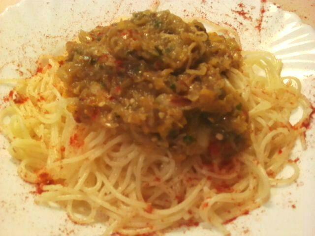 sauce citrouille surlit de spaghettis