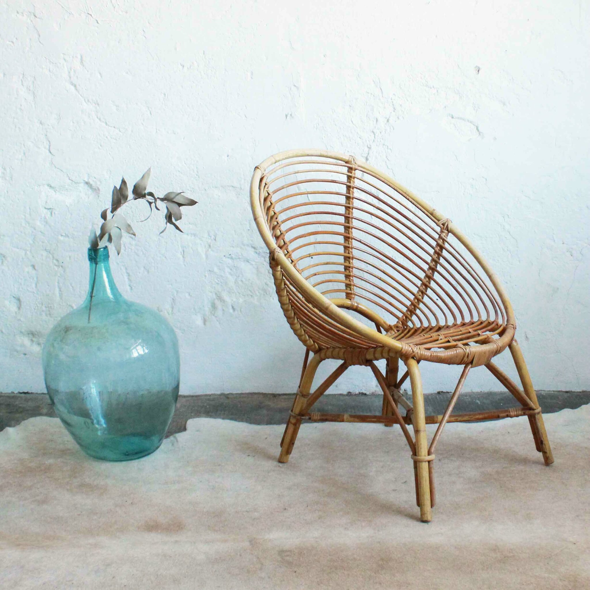 fauteuil rotin vintage forme spirale - Fauteuil Rotin Vintage