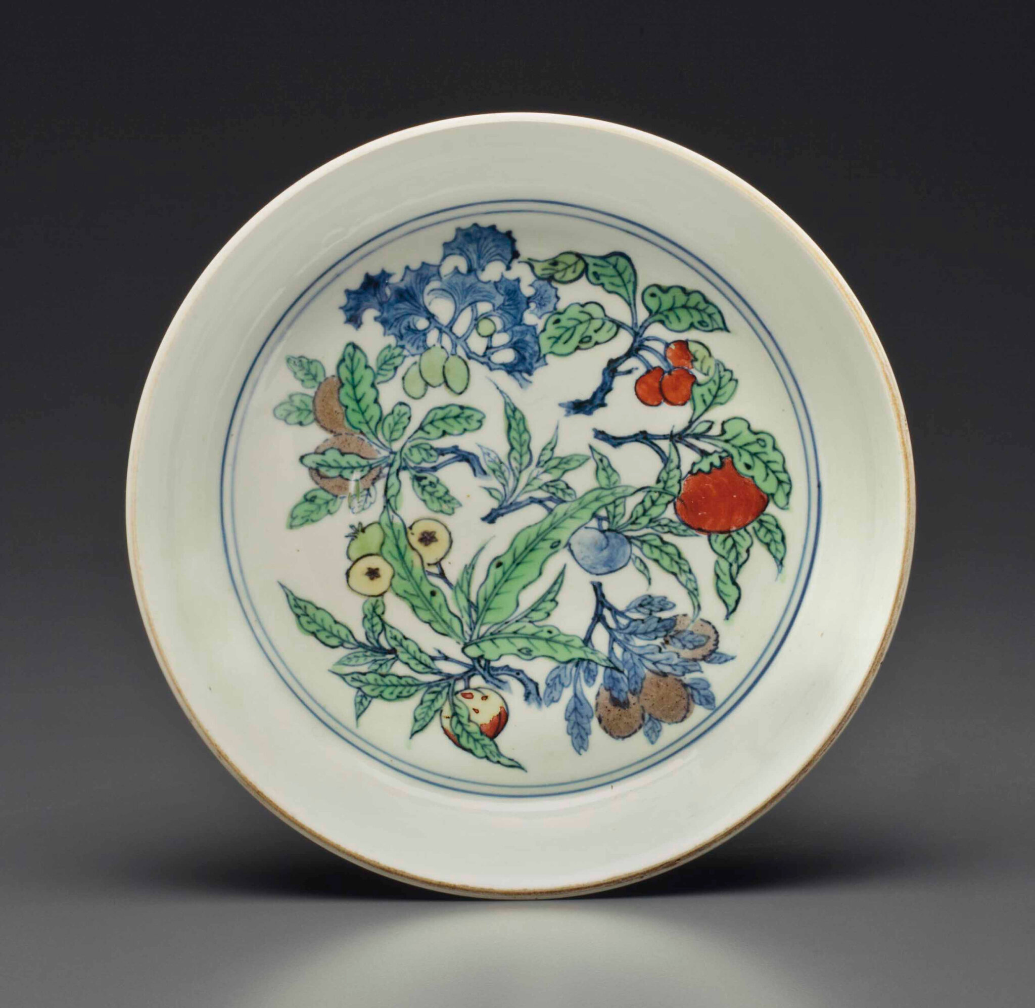 An extremely rare doucai brush washer, Jiajing six-character mark in underglaze blue and of the period (1522-1566)