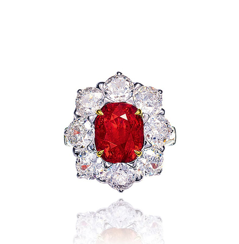 A 5.49 carat Burmese ruby and diamond ring
