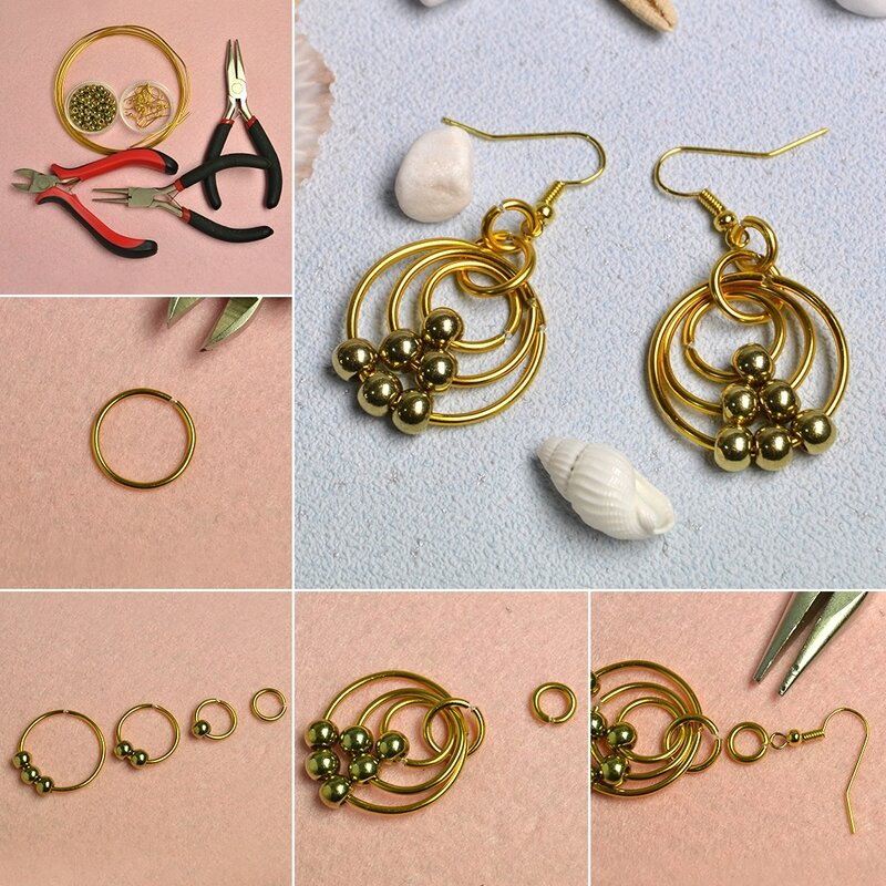 1080-Easy-PandaHall-Tutorial---How-to-Make-a-Pair-of-Golden-Wire-Wrapped-Hoop-Earrings
