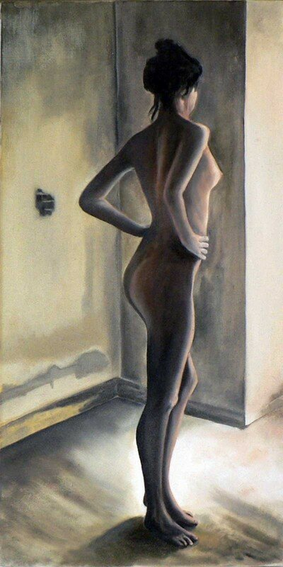 Nu II - d'après inconnu - huile sur toile - 60x30 cm