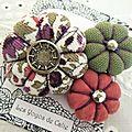 ♥ maly ♥ broche textile bohème fleurs potirons - les yoyos de calie