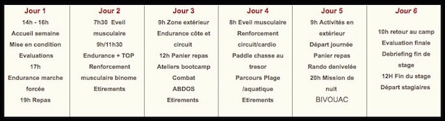 boot camp france programme
