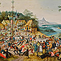 Pieter brueghel the younger, st. george's kermis with the dance around the maypole, 1627