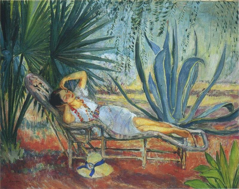 sieste henri lebasque - marthe endormie dans une chaise longue a saint tropez