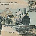 Carte postale passe-partout : gare de belfort avec loco & voyageur