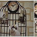 Horloge cage murale + 3 photos