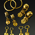 A group of korean gold jewelry, three kingdoms, silla kingdom period, 5th-6th century