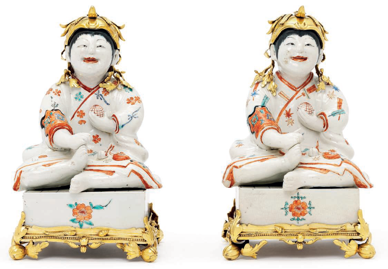 A Pair of Kakiemon Models of Karako (Chinese Boys) Seated on Go Boards with French Gilt Bronze Mounts 2