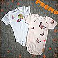 Body bébé Libellule+PapillonRose-cadeau de naissance original fille-Manches courtes