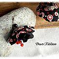 Boucles d'oreilles textile rouge et noir en tissu et satin