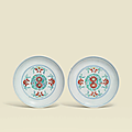 A pair of finely enamelled doucai floral dishes, Yongzheng six-character marks in underglaze blue within double circles and of the period (1723-1735)