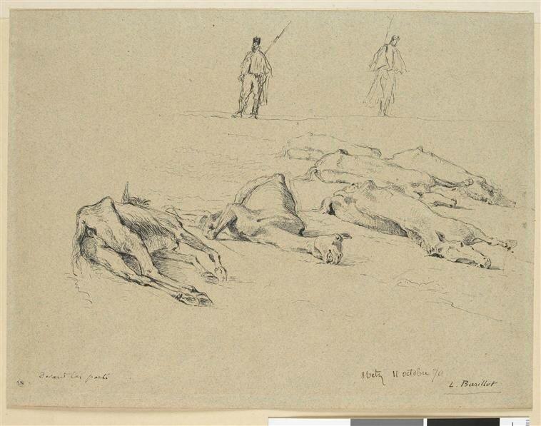 Barillot, six chevaux morts et deux sentinelles (dessins, Metz, octobre 1870)