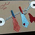 Carte de st valentin avec cravates à pois en origami suspendues