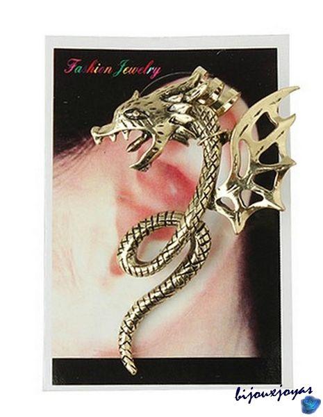 1 Boucle d'oreille Dragon Serpent Gothique, Punk, Rock Métal Couleur Dorée