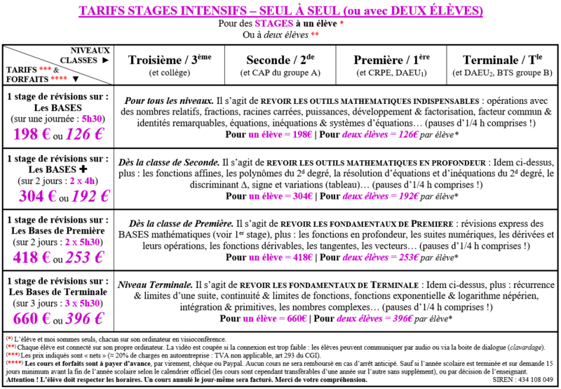 0 - COURS STAGES INTENSIFS