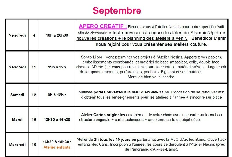 Planning des ateliers Sept 2015 - katia nesiris démonstratrice Stampin'up