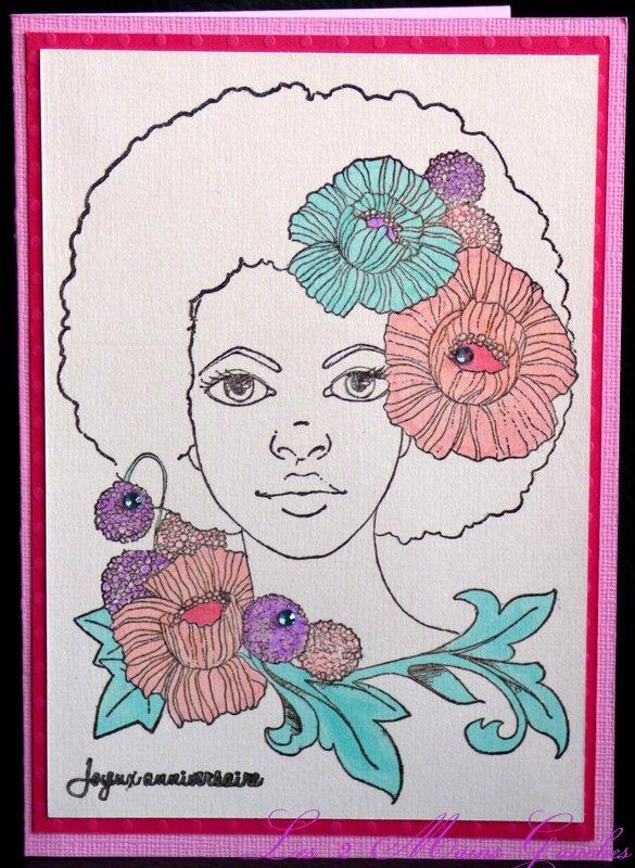 Carte D Anniversaire Avec Visage De Femme Et Fleurs Pastel