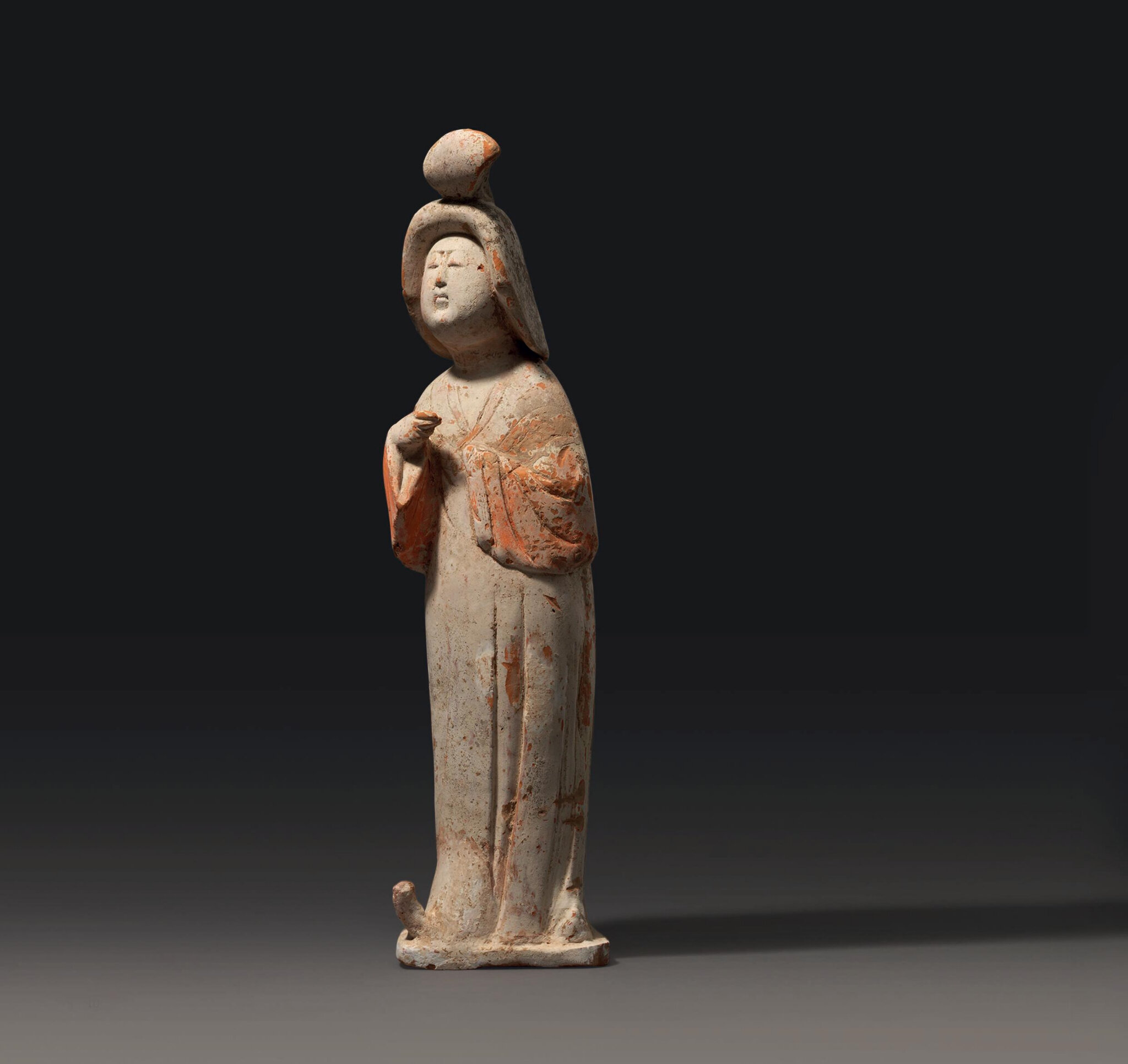 A pottery figure of a court lady, Tang dynasty (618-907)