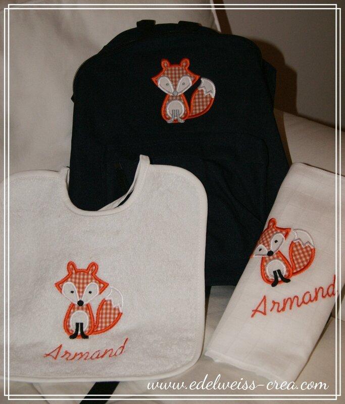 Ensemble de naissance cadeau de naissance prénom et petit renard brodé - Sac à dos enfant, bavoir personnalisé et lange en coton doudou
