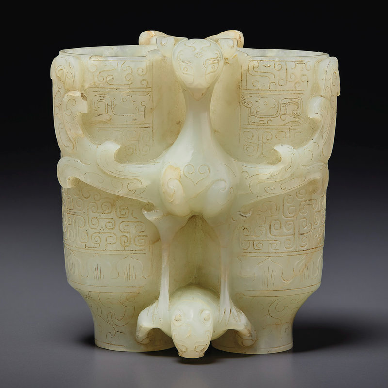 A pale greenish-grey jade champion vase, Late Ming-early Qing dynasty