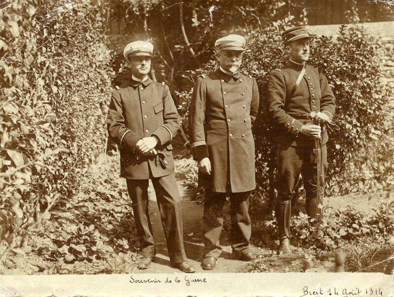 1914-08-14 Brest, Renaud, André et Octave Longuet militaire