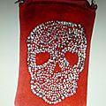 Sac Pochette Etui phone 'Daim & Strass' Skull rouge