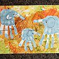Puzzles: famille éléphants (empreintes des mains) et formes géométriques
