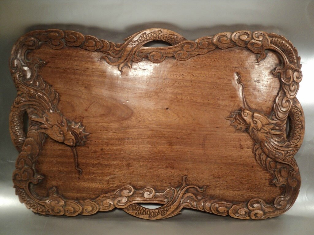 Grand Plateau Bois Sculpté Décor Dragons Indochine Chine Chinese Indo-china wood carving Tray