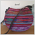 SAC ROND TRICOT PATTE CUIR DOS
