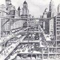 Anonyme, la ville future, solution du problème de la circulation, fin 19ème