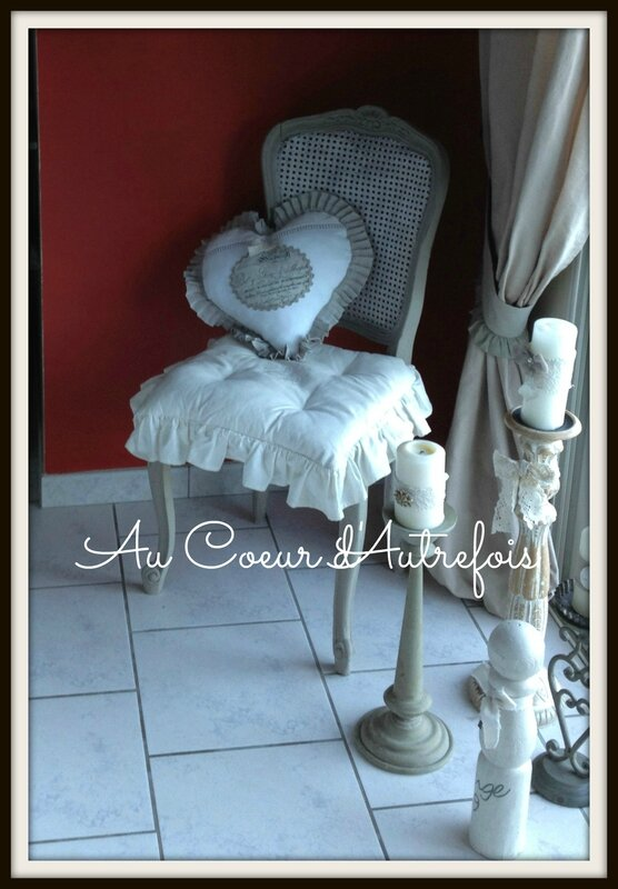 quille ancienne Ange et coussin Coeur S