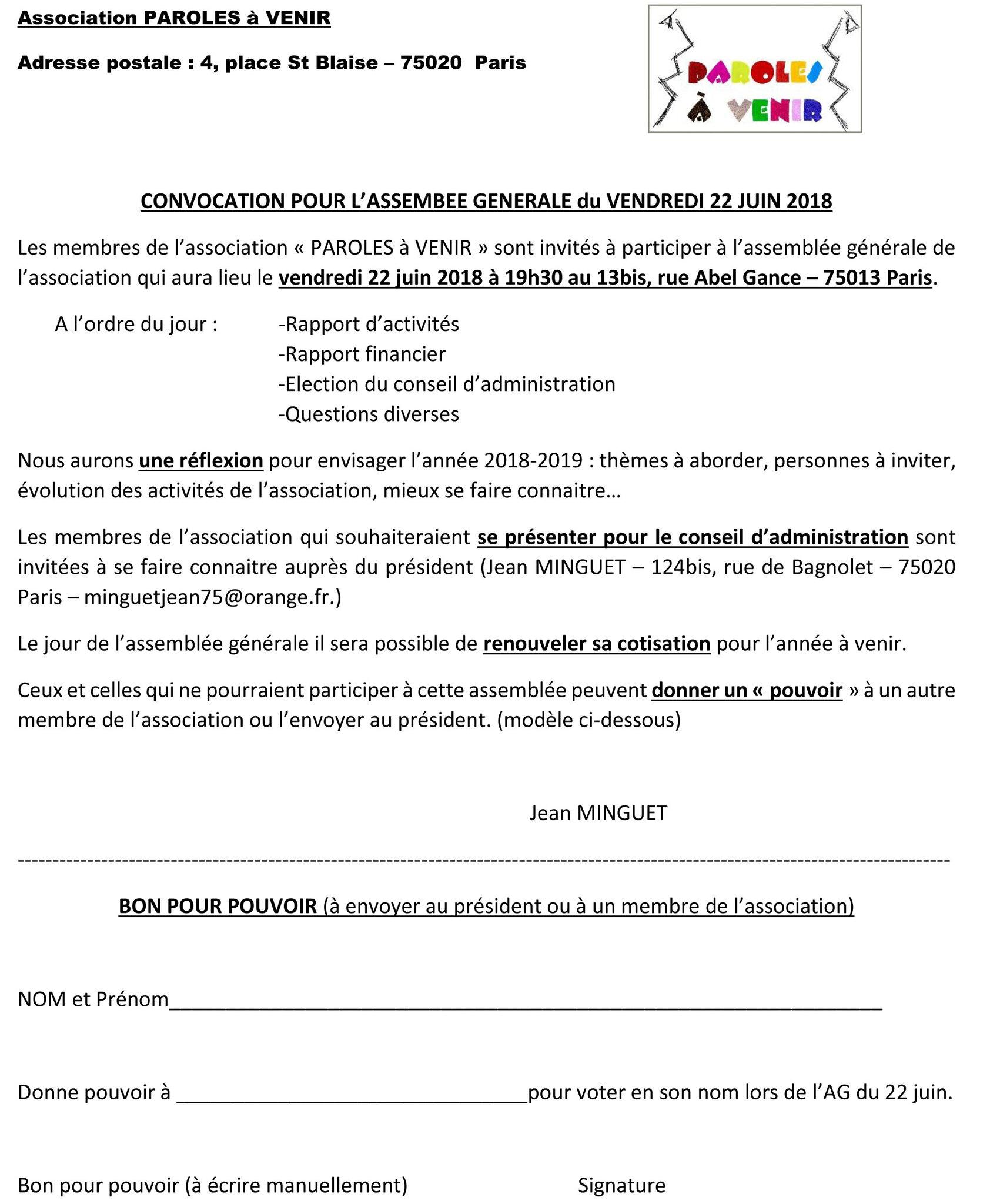 Convocation A L Assemblee Generale Du 22 Juin 2018 Paroles A Venir