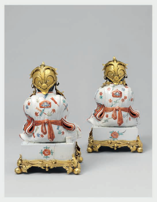 A Pair of Kakiemon Models of Karako (Chinese Boys) Seated on Go Boards with French Gilt Bronze Mounts 3
