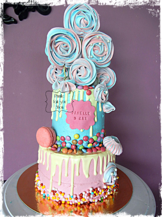 Layer cake à étages - pink and blue
