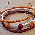 Lot de 3 bracelets macramé et perles de verre