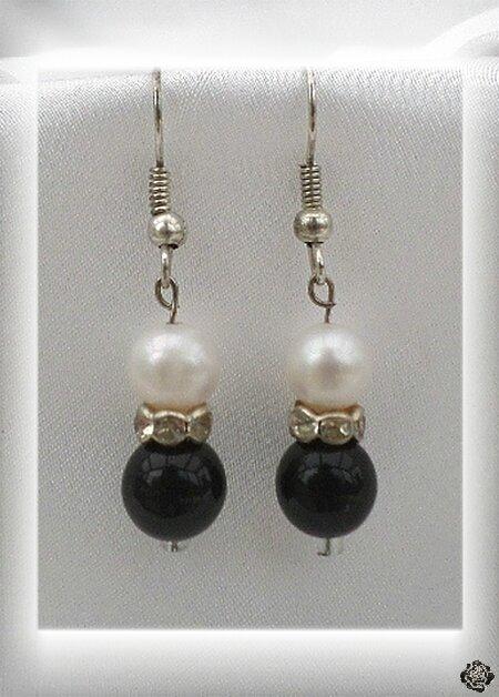 Boucles d'Oreilles Aelan Perles Onyx Noir Et Nacrée Blanc Rondelle Argenté Strass Crystal Argent Du Tibet