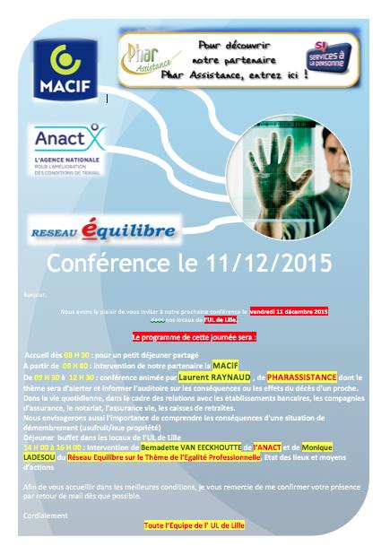 Nouvelle Conférence à l' Union Locale CFE-CGC de Lille : demandez le programme !