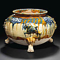 A rare blue, amber and cream-glazed tripod censer, Tang dynasty (AD 618-907)