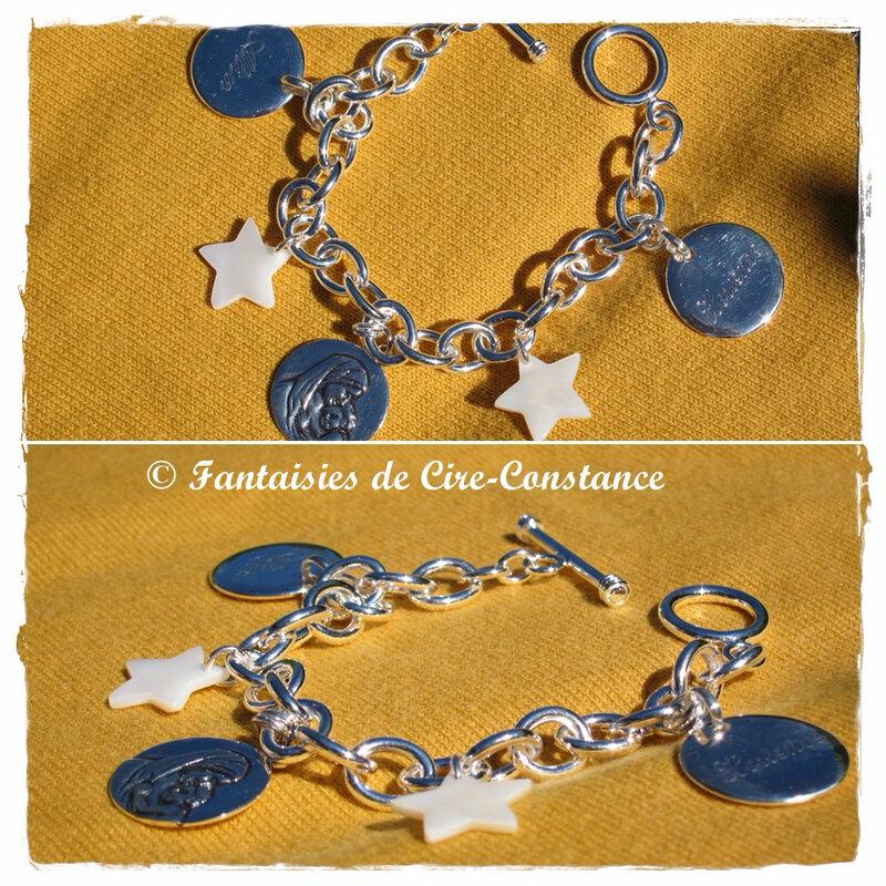 Bracelet argent étoiles Vierge enfant