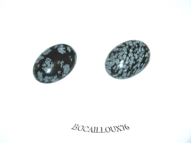 CABOCHON 13x18 OBSIDIENNE Neige 9 - Lot de 2