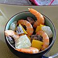 Salade de crevette et aux fruits exotiques (détox)