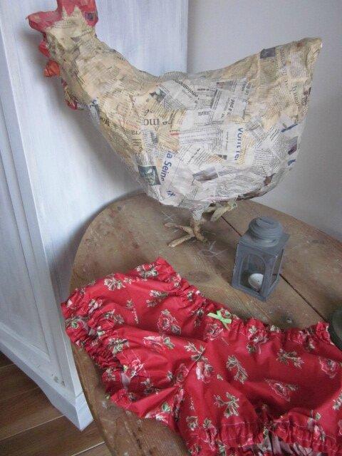 Culotte BIANCA EN coton rouge imprimé coquelicots - noeud vert (2)