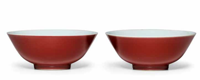 Two copper red bowls, Qianlong seal marks and of the period (1736-1795)