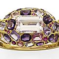 A morganite, amethyst, ruby, spinel, coloured sapphire, tourmaline and gold bracelet, by suzanne belperron.