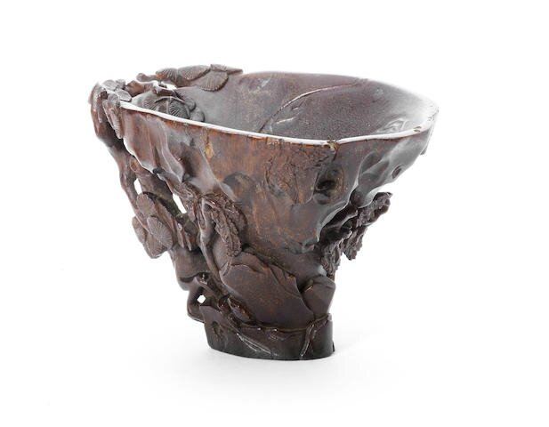 A fine and large rhinoceros horn libation cup, 17th-18th century