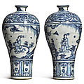 A pair of blue and white 'windswept' meiping, ming dynasty, 15th century, interregnum period (1436-1464)